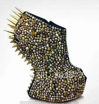 Newest Styles Luxury Unique 2012 Sexy Metal Spikes Multicolor Studs Women Platform Wedge Shoes No Heels Boots-in Boots from Shoes on Aliexpress.com