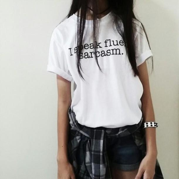 t-shirt white top i speak fluent sarcasm