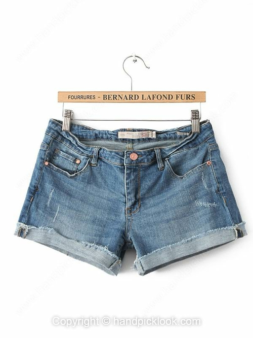 Blue Button Fly Fashion Denim Ripped Shorts - HandpickLook.com