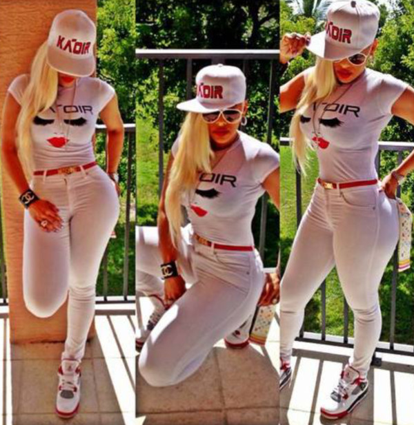 jeans dope red black white style shirt hat white sunglasses blonde hair