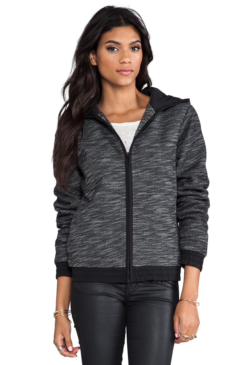 T by Alexander Wang French Terry Zip Up Hoodie With Nylon Trim in Black & White