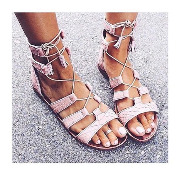shoes, pastel, sandals, pink - Wheretoget