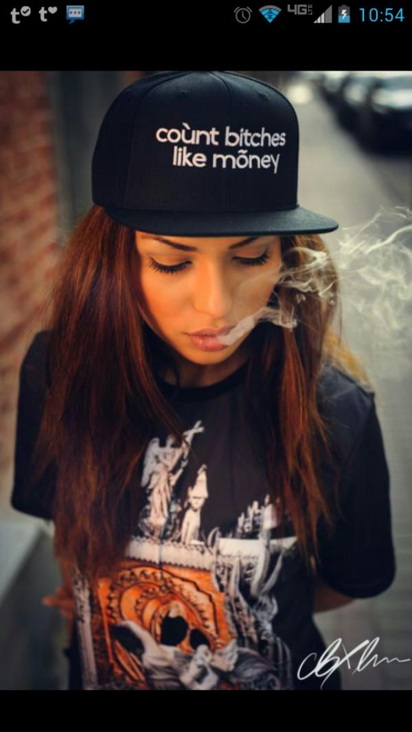 hat count bitches get money snapback black t-shirt