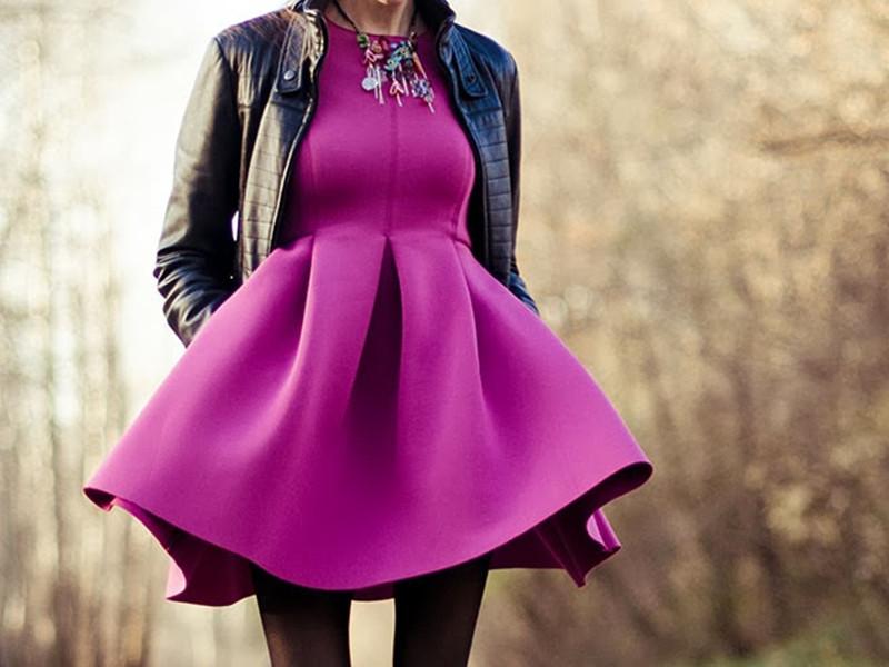 Long Sleeve Slim Dress with Skater Skirt in Peach | Choies