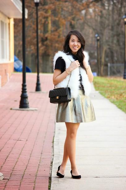 refined couture blogger metallic skater skirt faux fur vest jacket dress top skirt shoes bag metallic skirt white fur vest silver