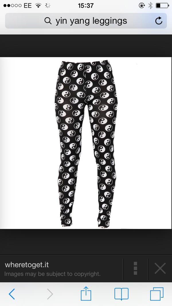 leggings ying yang leggings black and white