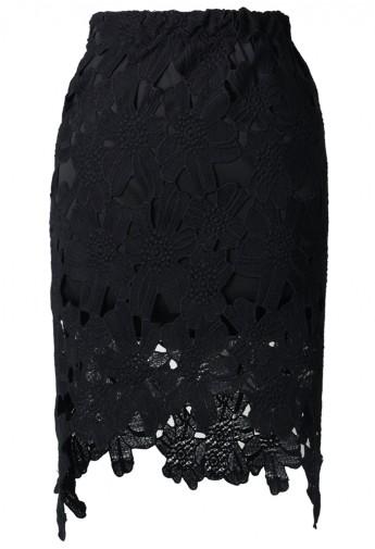 Hi-Lo Hem Flower Cut Out Pencil Skirt - Retro, Indie and Unique Fashion