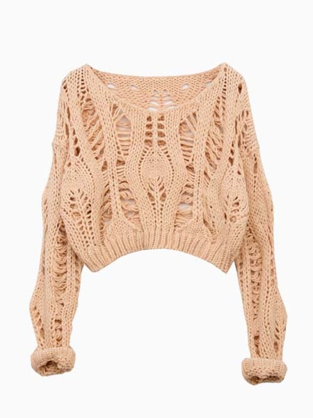 Beige Crop Knit Sweater With Hollow Out | Choies