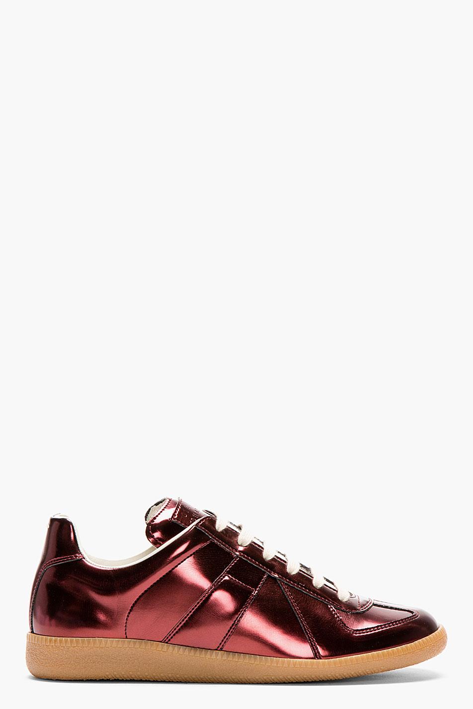 maison martin margiela burgundy metallic replica sneakers