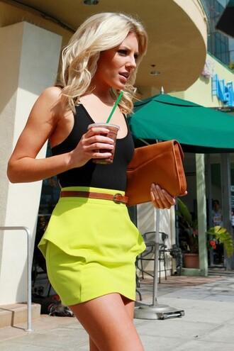 skirt neon yellow yellow peplum neon clothes neon skirt dress pencil skirt mini skirt