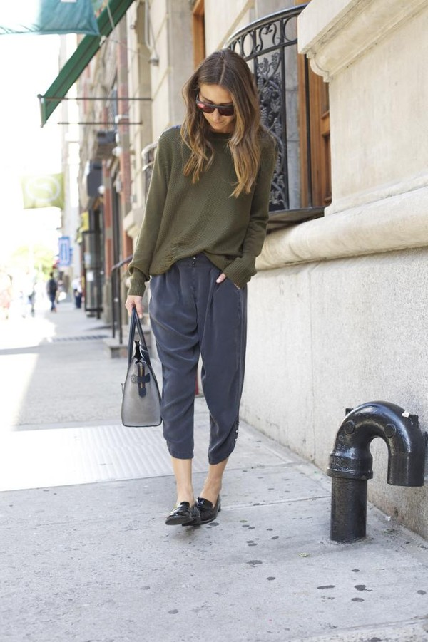 something navy sweater pants shoes bag sunglasses