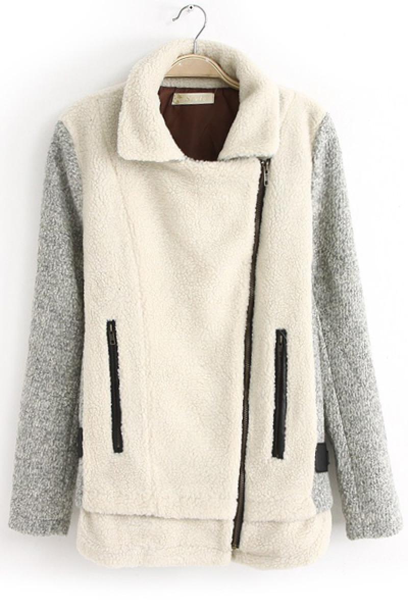 New Lambswool Zipper Splicing Wool Overcoat,Cheap in Wendybox.com