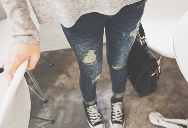 jeans shirt top pants skinny jeans blue ripped jeans dark blue shoes burgundy converse denim ripped skinny ripped cool destroyed skinny jeans