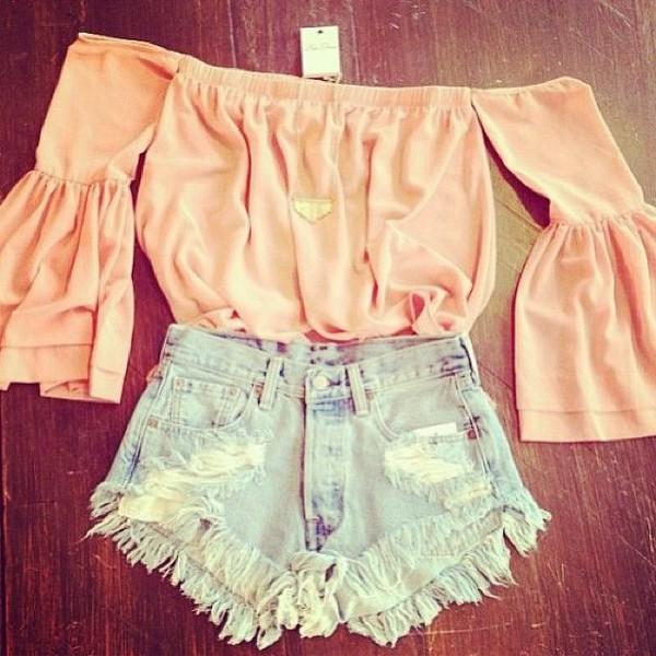 shorts cut off shorts blouse