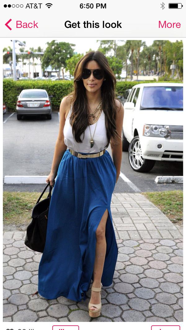 skirt blue skirt long maxi skirt kim kardashian style