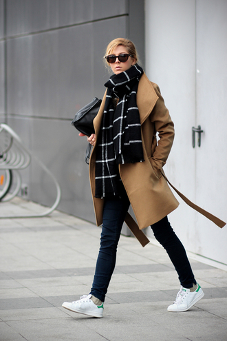 sirma markova blogger blanket scarf camel coat stan smith coat jeans sweater scarf bag jewels shoes sunglasses dress