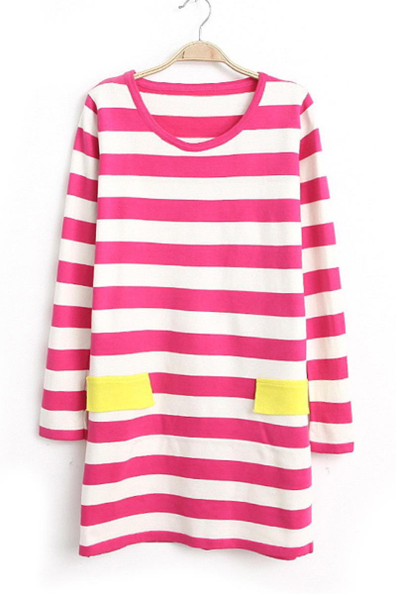 Double Pockets Striped Contrast Color Long Sleeve Sweater,Cheap in Wendybox.com