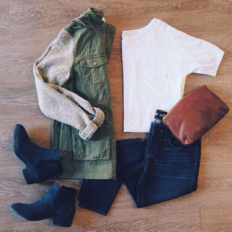 jacket army green jacket coat olive green jacket dark blue jeans black ankle boots ankle boots low heels