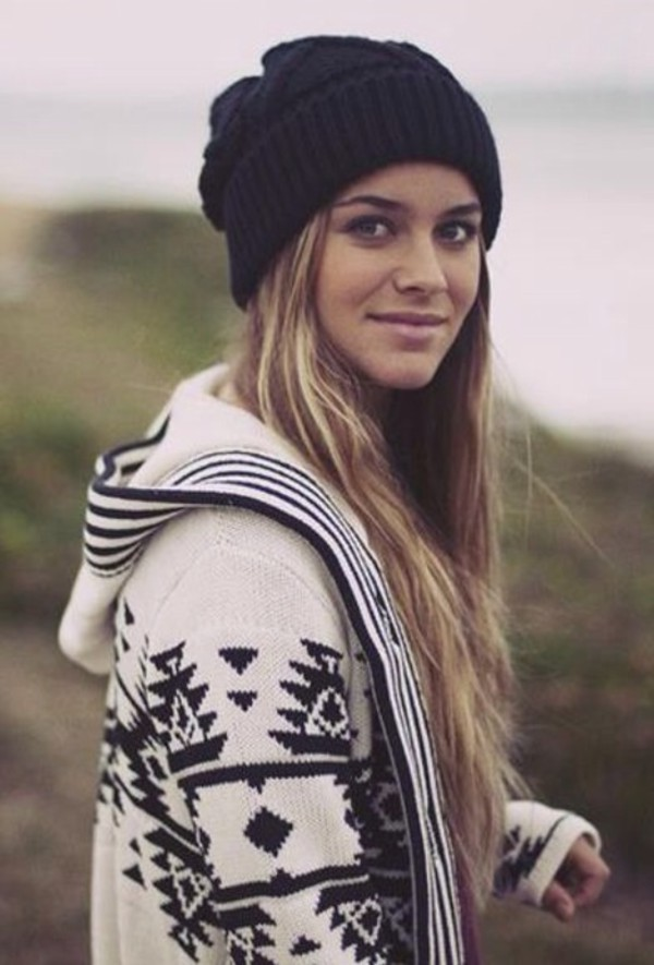 jacket aztec winter outfits warm beanie hat