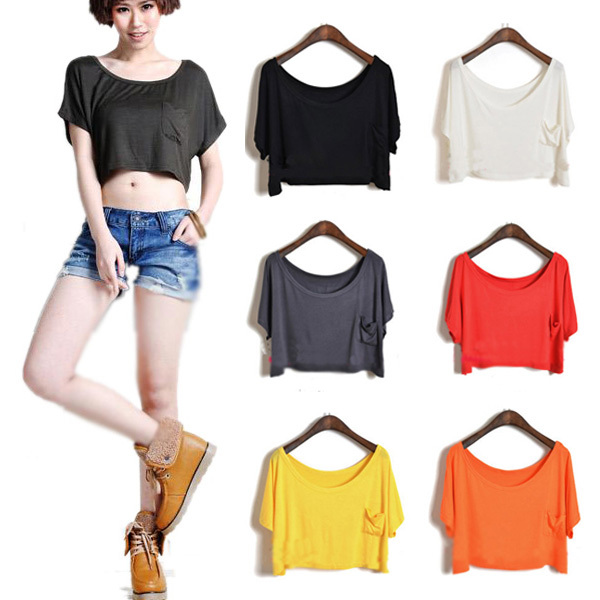 Lady Modal Casual Loose Candy Color Batwing Sleeve T Shirt Crop Top Blouse Tops Free shipping&Drop shipping CY0653-in T-Shirts from Apparel & Accessories on Aliexpress.com