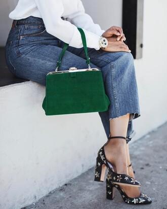 shoes tumblr bag green bag denim jeans blue jeans cropped jeans stars pumps high heel pumps ankle strap ankle strap heels shirt white shirt watch