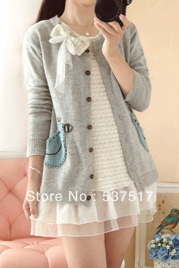 2013 fashion new winter Japanese retro wool long sleeve patch ladies sweaters/Lovely bowknot design/sweet style free shipping-inCardigans from Apparel & Accessories on Aliexpress.com