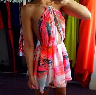 dress blouse summer summer dress pink flowers flowerdress light-pink rose floral print multicolor orange short halter dress colorful dress jumpsuit colorful bareback vibrant