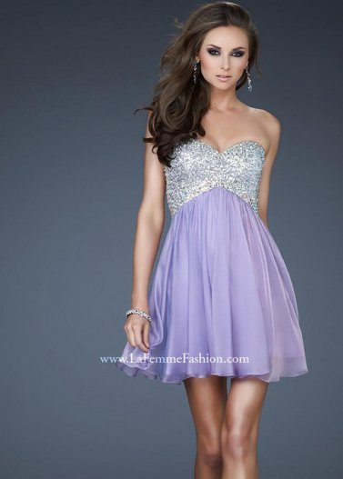 Light Purple Sequin Beading Top Short A Line Cutout Back Prom Dress [La Femme 17902 Purple] - $168.00 : Prom Dresses 2014 Sale, 70% off Dresses for Prom