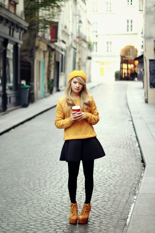 brown platform sweater coat skirt hat shoes
