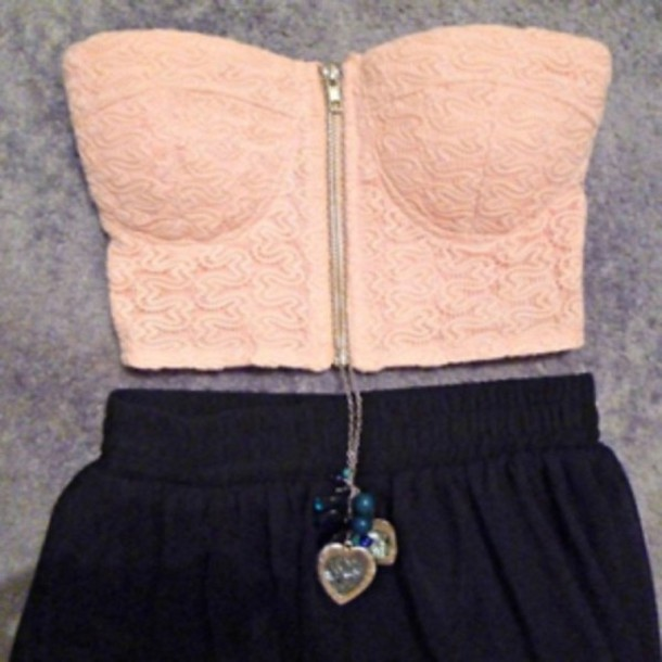 shirt top pink skirt bandeau swipper jewels necklace floral pattern bustier crop tops zip black shorts