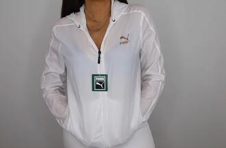 jacket rain jacket cute jacket puma white gold cute