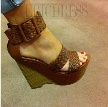 Comfortable Wedge Heel Ankle Strap Buckle High Heel Sandals  Wedge Sandals- ericdress.com 10876516