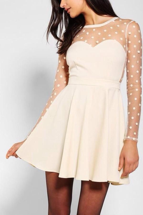 dress white polka dots short