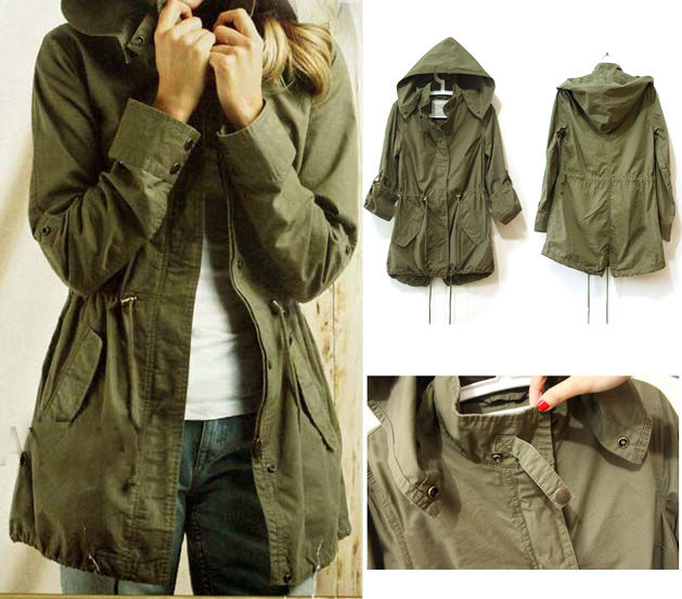 New Womens Hoodie Drawstring Army Green Military Trench Parka Jacket  OA68