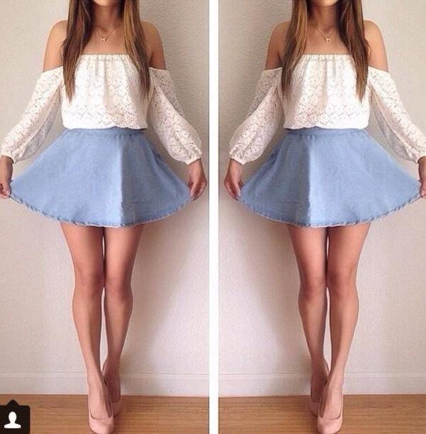 blouse white top crop tops cute skirt blue white top cute outfits