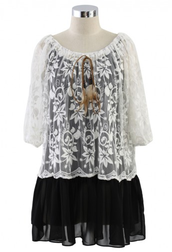 Embroidered Mesh Top with Black Chiffon Hem - Retro, Indie and Unique Fashion