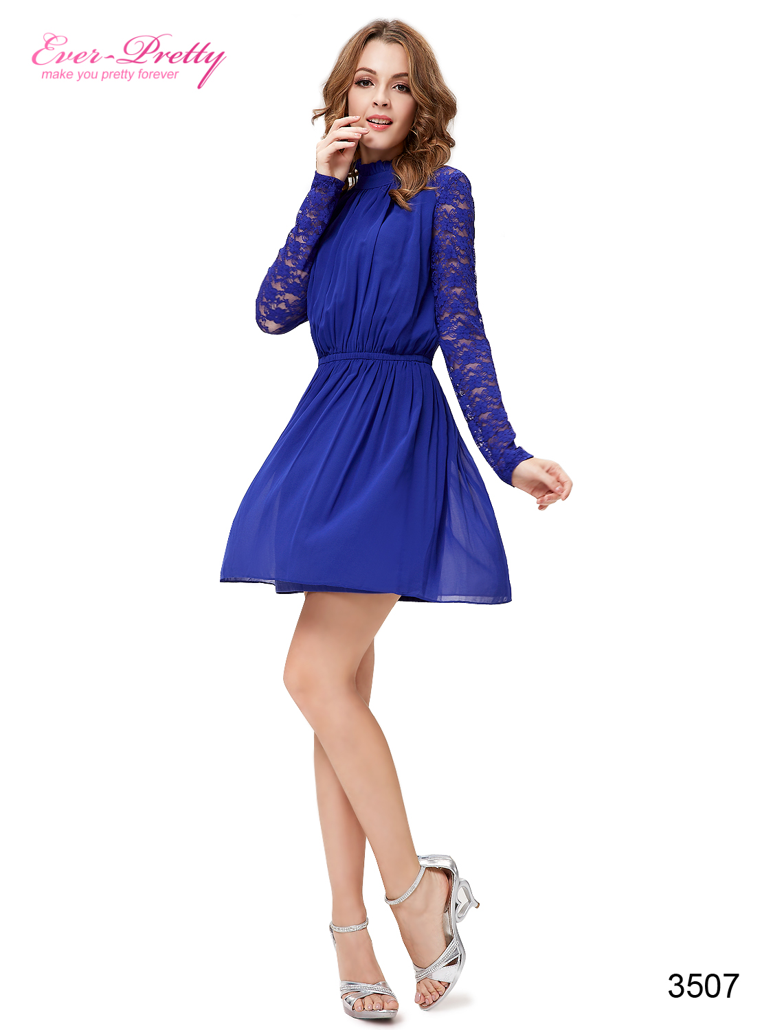 Falbala Sapphire Blue Long Lace Sleeves Ruffles Chiffon Cocktail Dress - Ever-Pretty