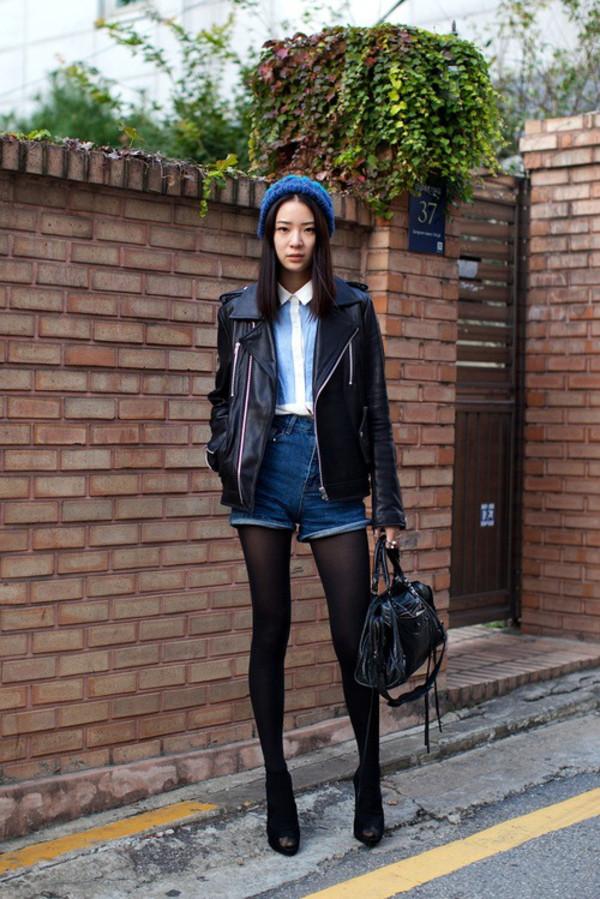 shorts High waisted shorts denim leather jacket collared shirt jacket