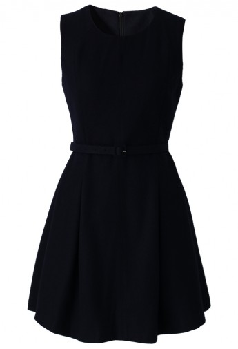 Belted Sleeveless Pleated Dress in Black - Retro, Indie and Unique Fashion