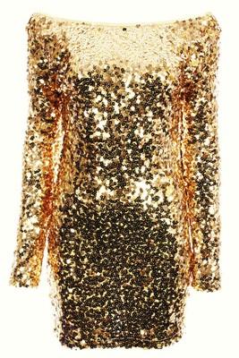 Melrose Gold Long Sleeve Sequin Dress
