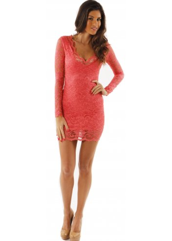 Designer Lace Dress | Coral Lace Mini Dress | Lace Mini Dresses
