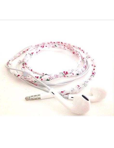 earphones flowers fashion pretty beautiful white pink red