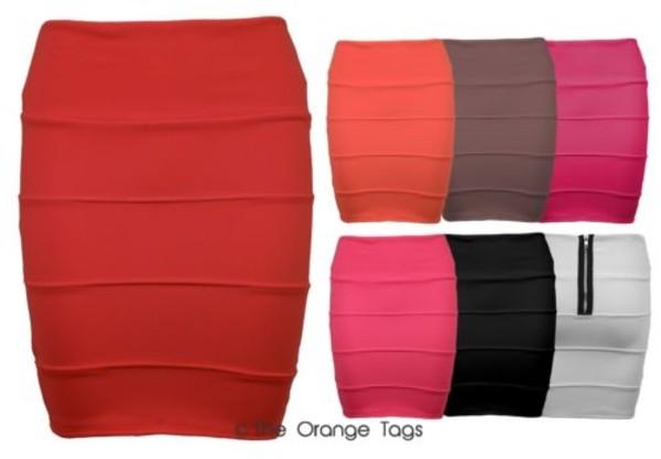 skirt ribbed bodycon dress mini skirt sexy stripes red orange brown white black fuschia pink side panels bandage skirt pencil skirt spring fashion