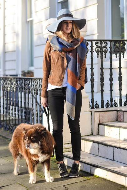 thank fifi blogger floppy hat suede jacket blanket scarf