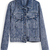 Blue Lapel Long Sleeve Pockets Crop Denim Jacket - Sheinside.com