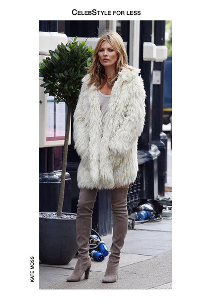 coat celebstyle for less fuzzy coat fluffy winter coat white coat winter outfits kate moss thigh high boots tank top model faux fur t-shirt shoes make-up suede boots