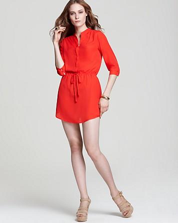 Aqua Shirt Dress - Drawstring Three Quarter Sleeve | Bloomingdale's