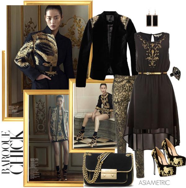 dress baroque asymmetrical jacket pumps high heels bag jewels pants shoes ring earings