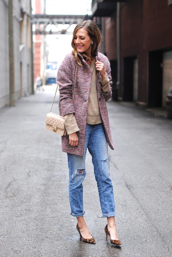 see jane coat sweater jeans bag