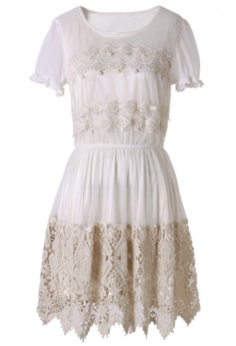 Delicacy Crochet Embellished White Tulle Dress - Retro, Indie and Unique Fashion